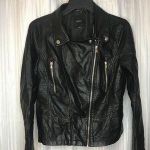 Women's Hooded Black Leather Zip Up Jacket